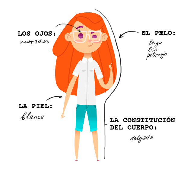 Learn the Spanish for Fanny's eye color, hair type, hair color, and build