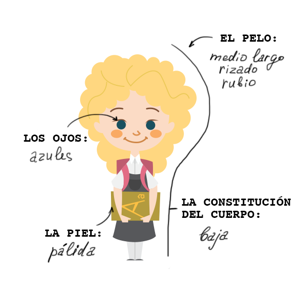 Learn the Spanish for Blondy's eye color, hair type, hair color, and build
