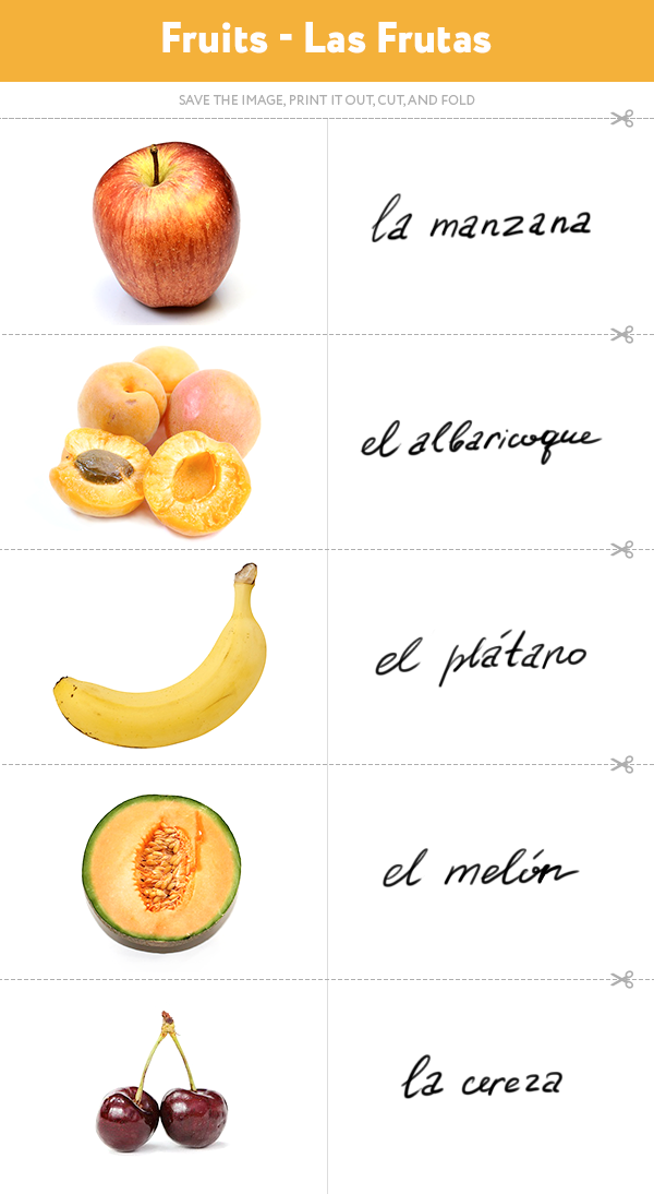 Learn the Spanish for apple, the Spanish for apricot, the Spanish for banana, the Spanish for cantaloupe, the Spanish for cherries