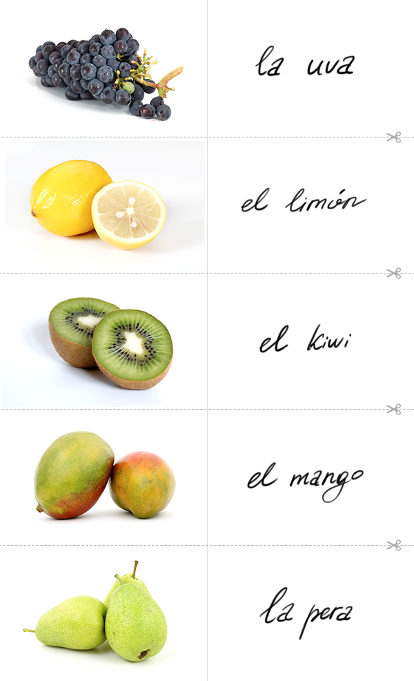 Learn the Spanish for grapes, the Spanish for lemon, the Spanish for kiwi fruit, the Spanish for mango, the Spanish for pear