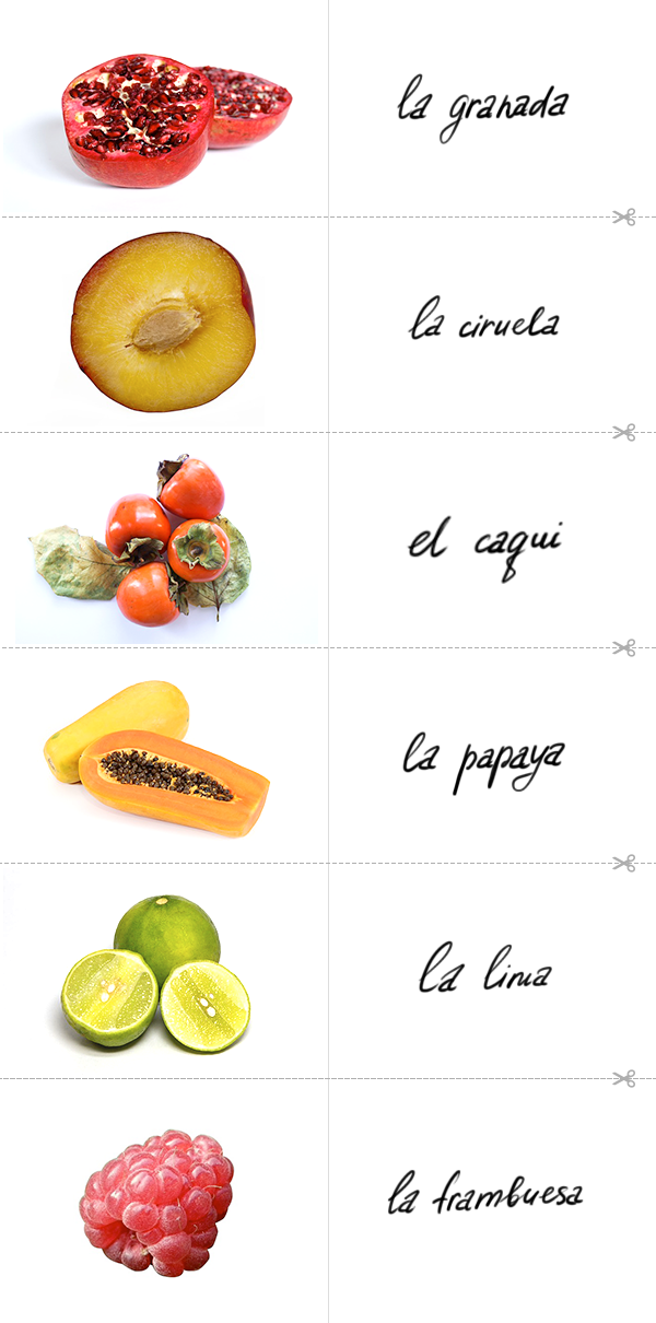 Learn the Spanish for pomegranate, the Spanish for plum, the Spanish for persimmon, the Spanish for papaya, the Spanish for lime, the Spanish for raspberry