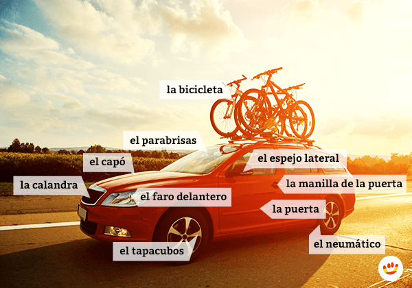 Learn the Spanish names for the parts of the car exterior